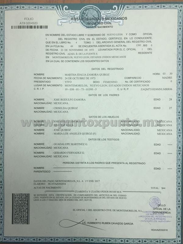 Dorable Minnesota Certificado De Nacimiento Registro Civil Cresta ...