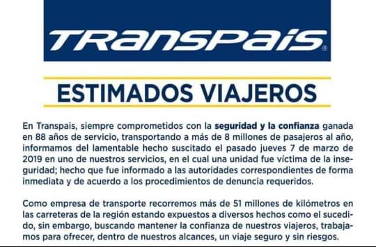 ASEGURA EMPRESA DE TRANSPORTE QUE UNIDAD QUE LLEVABA INDOCUMENTADOS LES FUE ROBADA
