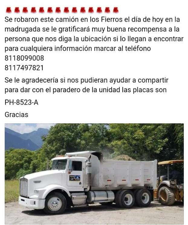 OFRECEN RECOMPENSA QUIÉN DE INFORMACIÓN DE CAMIÓN ROBADO EN SANTIAGO.